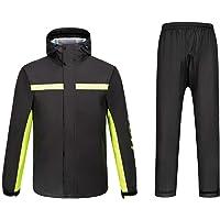 Ynport Crefreak Mens Waterproof Rainsuit Sets Windproof Hooded Raincoat Two Piece Rain Suit in Black with Safety…