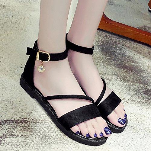 XY&GKDonna Sandali Morbido Piatto sandali estivi All-Match scarpe piatte, 36,grigio con il migliore servizio 40 black
