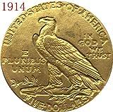 bespok Souvenirs seltenes Antikes USA United States 24-k Vergoldet 1914$5Indischen Hälfte Eagle Dollar Münze