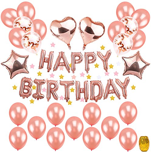 """(Geburtstagsdeko Mädchen Rosegold, TopDeko Hen Party Deko mit 16"""" Happy Birthday Banner, 25Pcs 12"""" Ballons und 4Pcs 18"""