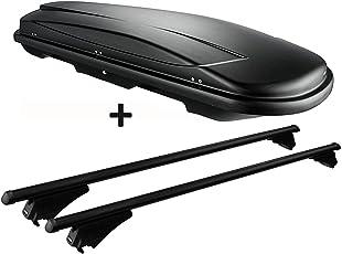 VDP Dachbox Schwarz Juxt 400 großer Dachkoffer 400 Liter abschließbar + Alu-Relingträger Dachgepäckträger für aufliegende Reling im Set für Audi A6 4F Avant 2004-2011