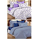 Story@Home Premium Magic Combo 152 TC 2 Pieces Bedsheets with 4 Pillow Covers - Blue, White