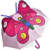CAPMESSO Paraguas para niños 3D domo paraguas con mango resistente al viento para niñas apertura de seguridad de 3 a 6 años