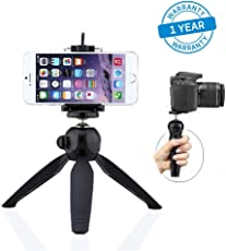 Azacus Mini Tripod Stand Universal Mobile Holder / mobile mount Clip,for Digital Camera & iPhone, Android Phone Smartphones and Selfie Sticks, DSLR, Go-pro Camera and other Digital camera with universal holder(Black) (One Year Product Replacement Warranty)