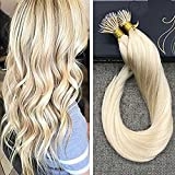 Ugeat 14 Pouces/35cm Nano Loop Ring Extensions Cheveux Bresilien Naturel 1g*50strands Tissage Extensions a Froid Blond #613