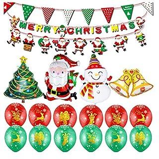 Amasawa 21 Stück Weihnachtsballon Kombination Aluminium Film Ballon Folienballons 12 Zoll Latexballon Für Weihnachten Party Dekoration