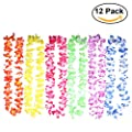 OULII 12pcs Hawaii Flower Garland Necklace for Luau Festival Beach (Multi-Colored)