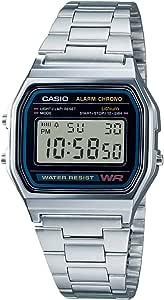 Orologio Originale Casio A158WA-1 Acciaio Crono Luce Sveglia Vintage + Scatola