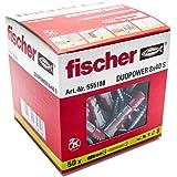 Fischer Taco Duopower S / (Caja de 50 Uds), 555108, Gris y Rojo, 8x40 (tacos + tornillos)