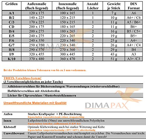 Luftpolstertaschen Versandtaschen braun weiß alle Größen wählbar dimapax (100 x D4, weiß) - 2