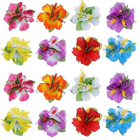 BBTO 24 Pièces Pinces à Fleurs Hawaïian Multicolores Hibiscus Fleur d'Hibiscus Accessoires pour Cheveux pour Filles Femmes Fournitures de Fête de Mariage en Plage