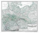 Hist. Karte: Preussen 1865 (plano): Nord und West - DEUTSCHLAND der PREUSSISCHE STAAT und die übrigen Zollvereinsstaaten -
