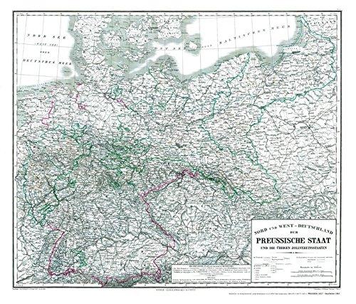Hist. Karte: Preussen 1865 (plano): Nord und West – DEUTSCHLAND der PREUSSISCHE STAAT und die übrigen Zollvereinsstaaten