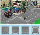 Modbrix 4 STÜCK City Strassen Platte Grundplatte Straßenplatten Set 32 x 32 Noppen Bauplatte Platten, 25.5 x 25.5 cm, Gerade Straße / Kreuzung / Kurve / T-Kreuzung