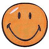 XL Bügelbild - Smiley orange - 12,5 cm * 12,5 cm - Aufnäher gewebter Flicken / Applikation - Gesichter Smile Emotion Smileys / lachend grinsend - bunt World - Mädchen Jungen Kinder Erwachsene - Smilies
