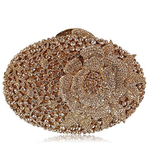 Donne Borse sera di lusso fiore Strass Portafogli donna bellezza preferito borsetta party di nozze portamonete frizione telaio metallico M