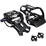 BV Bike Shimano SPD Compatible 9/16'' Pedals with Toe Clips (SPD Cleats included) - MTB/Spin/Indoor/Exercise/Peloton Bicycle