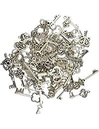 50pcs Colgantes Encantos Joyas Esqueleto Clave Aleación Vendimia Clasificó Bricolaje