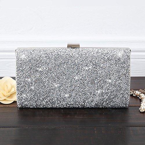 YAN Damentaschen PU Abendtasche Für Hochzeit Event/Party Formale All Seasons Schwarz Silber Champagner (Style : 1) -