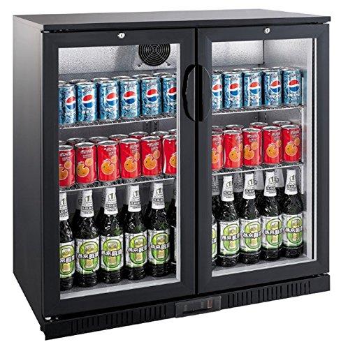 Flaschenkühlschrank mit 2 Klapptüren Kühlschrank Getränkekühlschrank Gewerbekühlschrank 208 Liter Gastrokühlschrank