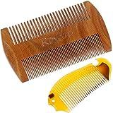 Rovtop 2 pzas Peines ,Peine de Madera para el Pelo y Barba y peine de 100% caucho natural ,bigote Anti-estática con Aroma de Sándalo Natural-Ideal para Peinarse el Cabello o Barba