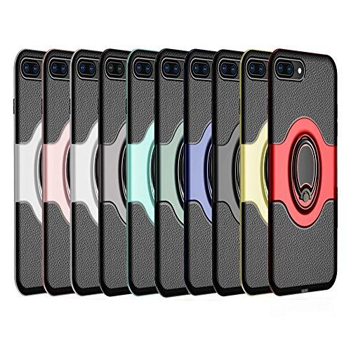 """iPhone 7 Plus/iPhone 8 Plus Ring Stand Coque, SHANGRUN TPU Gel Silicone Métal Rotation Intégrée Bague de Serrage Support Case Coque avec Béquille Housse Étui pour iPhone 7 Plus/iPhone 8 Plus 5.5"""" Roug Or"""