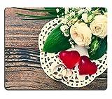 Liili Mauspad Naturkautschuk Mousepad Bild-ID 31821211in Ast, bei weiß Filigrane Blumen auf Holz Oberfläche Hochzeit Ringe Hochzeit Bouquet Hintergrund