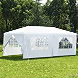 COSTWAY Partyzelt Gartenzelt Hochzeit Festzelt Pavillon Zelt Gartenpavillon Bierzelt mit Fenster 3x6m (Weiß)