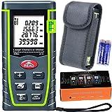 Semoss Handheld Digital Laser-Entfernungsmesser Distanzmessgerät Messbreich 0.05~40m/±2mm multifunktional LCD Distanzmesser mit Hintergrundbeleuchtung + Level Blasen Messeinheit m/in/ft + Aufbewahrungstasche + Handschlaufe + Geschenkbox + 2 x 1.5v AAA Batterien