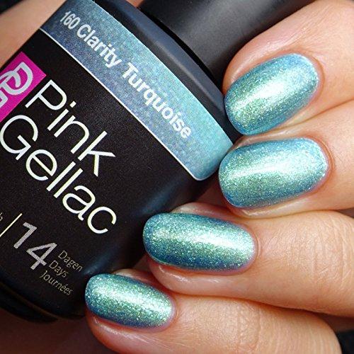 Vernis à ongles Pink Gellac 160 Clarity Turquoise. 15 ml gel Manucure et Nail Art pour UV LED lampe, top coat résistant shellac