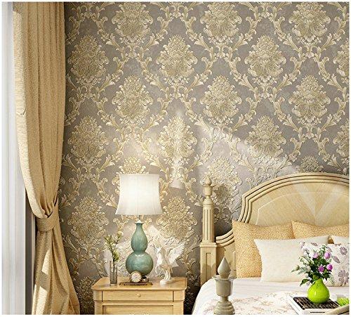 Yosot 3D-Vliestapeten Europäische Relief Grün Schlafzimmer Wohnzimmer Hintergrundbild Kaffee