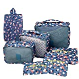 Ubagoo 7 Piece Set Travel Luggage Organiser Bags Travel Essentials Packing Cubes Cosmetics Underwear Clothes Shoes Storage Bag Pouch Organizers (Light Blue)