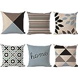 Vlunt 6er Set Leinen zierkissenbezüge 45x45 cm, Liniengeometrie Muster Zierkissenhülle Dekorative Kissenbezug Für Sofa…