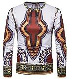 Whatlees Herren Langarm 3D Print Dashiki T-Shirt mit African Druckmuster BA0124-white-S