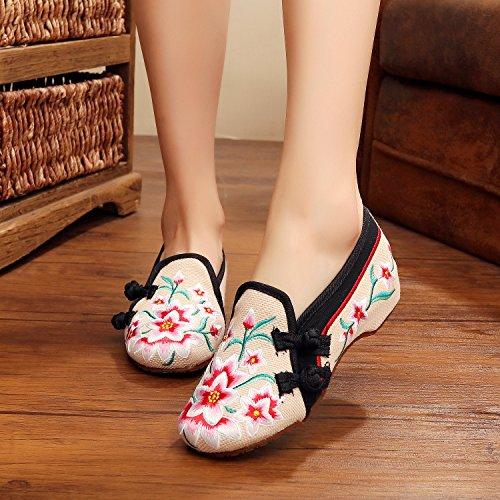 DESY Scarpe ricamate, suola a tendina, stile etnico, scarpe da donna, moda, comodo, casual all'interno dell'aumento beige