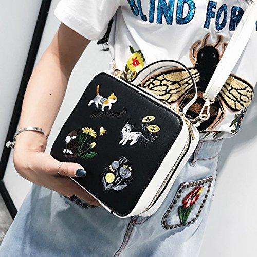 Weibliche Stickerei handtasche mode kleine quadratische tasche pendler Box tasche Schulter messenger bag Schwarz Mit Weiß