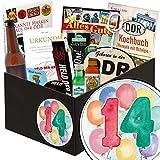 Geschenk zum 14. | Männer Set | inkl Markenbuch | Geschenkidee 14 Jahrestag | mit Bier, Kondomen und mehr