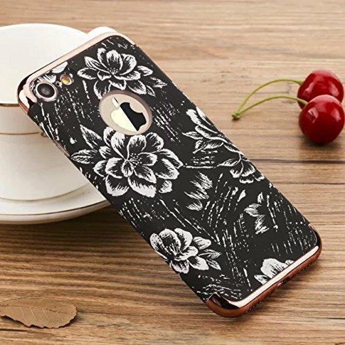 yhuisen Serie Blumen und Vögel 3in 1leicht matt stoßfest Furnier Metal Textur Haut Hard Case DE Schutz für iPhone 7Plus 4
