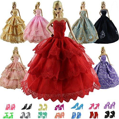 ZITA ELEMENT 15 Stück Handgefertigte Puppensachen für Barbie Puppe 5er Partykleider mit 10er...
