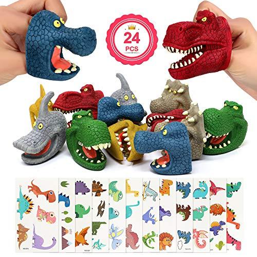 Joinfun 24 Stück Fingerpuppen Dinosaurier + Tattoo Aufkleber Kinder Spielzeug Fingerpuppen Tiere