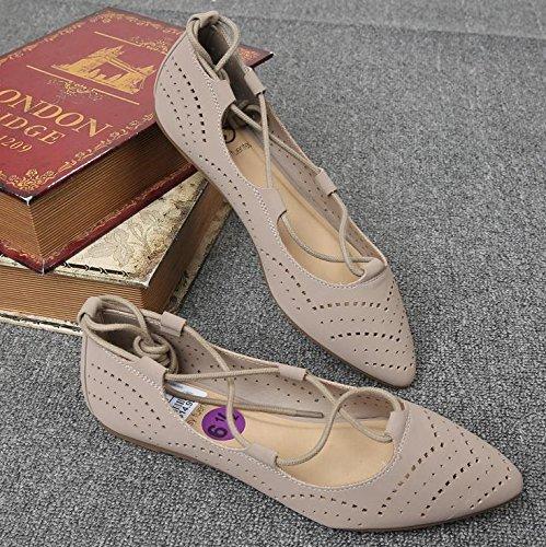 &qq Chaussures plates pointues, chaussures de sangles femmes, chaussures de mode 37.5