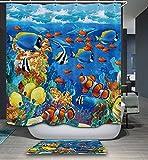 Beddingleer Duschvorhang Anti-Schimmel 180x200 cm Bunte Unterwasserwelt Bad Duschvorhang textil Wasserdicht und Mildewproof aus 100% Polyester