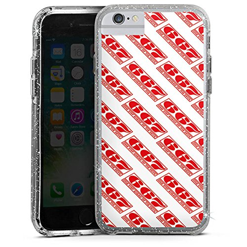 Apple iPhone 8 Bumper Hülle Bumper Case Glitzer Hülle Red Rot Pattern Bumper Case Glitzer silber