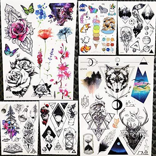 CIHKIKO 5 stücke Aquarell Tattoo Arm Frauen Temporäre Tattoo Körper Aufkleber Männer Mode Totem Geometrische Dreieck Brust Falsche Tatoo Wolf -
