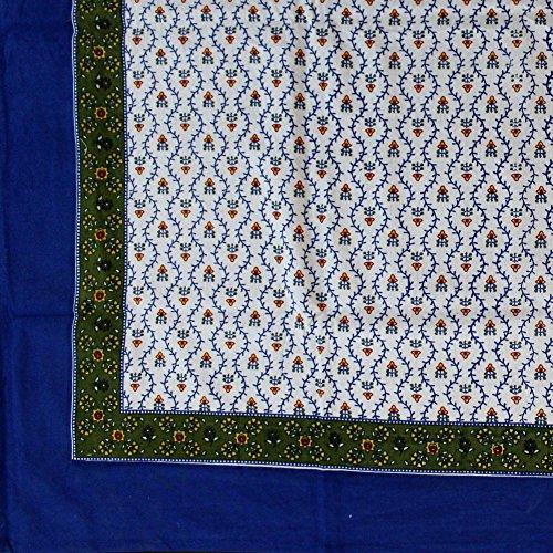 Handarbeit einzigartige 100% Baumwolle Floral Vine Tischdecke, baumwolle, blau / grün, 72x72 -
