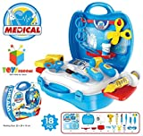 #10: Kagvad Kitchen Set / Doctor Set / Beauty Set / Sweet Shop Cart Trolley Toys For Girls & Boys, Multi Color. (Doctor Suitcase, Blue)
