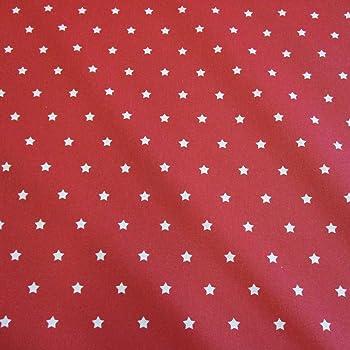 Werthers Stoffe Stoff Meterware wasserdicht Sterne rot weiß klein Wachstuch Tischdecke abwaschbar