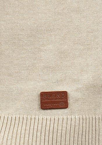 BLEND Lenny Herren Strickpullover Feinstrick Pulli Troyer mit Stehkragen aus hochwertiger Baumwollmischung Sand Mix (70810)