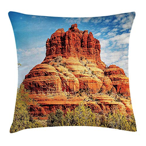 RAINNY Western Throw Pillow Cushion Cover, Famous Bell Rock and Courthouse Butte in Sedona Arizona USA Nature Desert, Decorative Square Accent Pillow Case, 18 X 18 inches, Cinnamon Blue Green (Halloween Texas Arizona)
