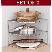 Callas Stainless Steel Multipurpose Kitchen Corner Shelf Rack Stand/Chakla Belan Storage (25.5 * 25.5 * 22 cm) (Set of 2)